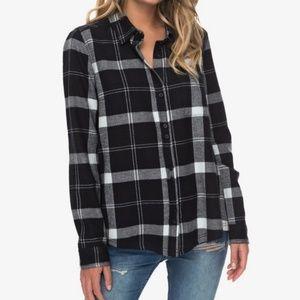 Roxy Heavy Feelings Black Plaid Long Sleeve Shirt